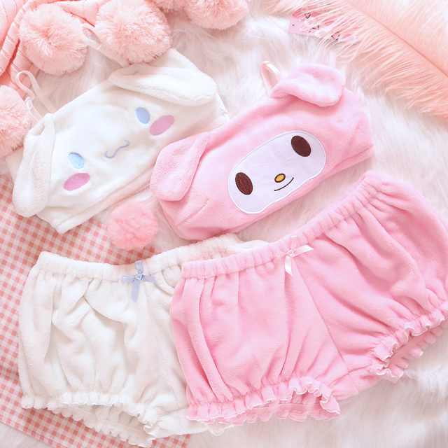 OJBK Pink And White Kwaii Velvet Tube Top And Panties Set For Girls Adorable Underwear Anime Long Ear Doggy Bra and bloomers