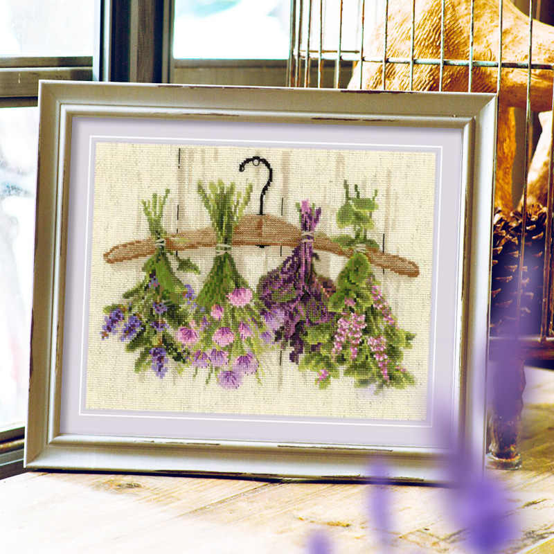 رأسا على عقب النباتات والزهور عبر الابره حزمة 18ct 14ct ضوء أصفر القماش خيط قطني التطريز اليدوية الإبرة