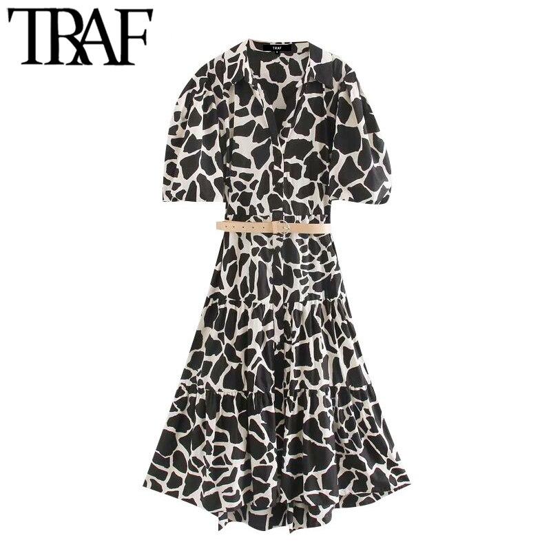 TRAF Women Chic Fashion Animal Print With Belt Midi Dress Vintage Short Sleeve Ruffle Female Dresses Vestidos Mujer