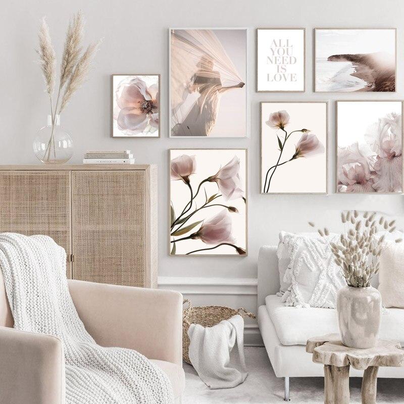 Картина на холсте с растениями и цветами, скандинавский постер с природой, зимний пейзаж, растительный принт, Настенная картина, украшение для дома