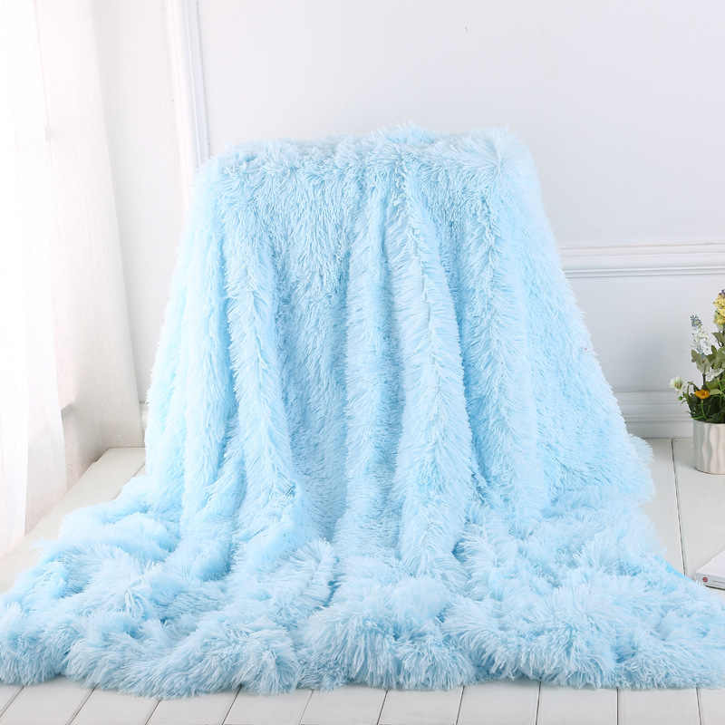BeddingOutlet Shaggy Throw Blanket Soft Plush Fuzzy Bed Cover Blanket Colorful Fluffy Faux Fur Decorative Blanket for Couch Sofa