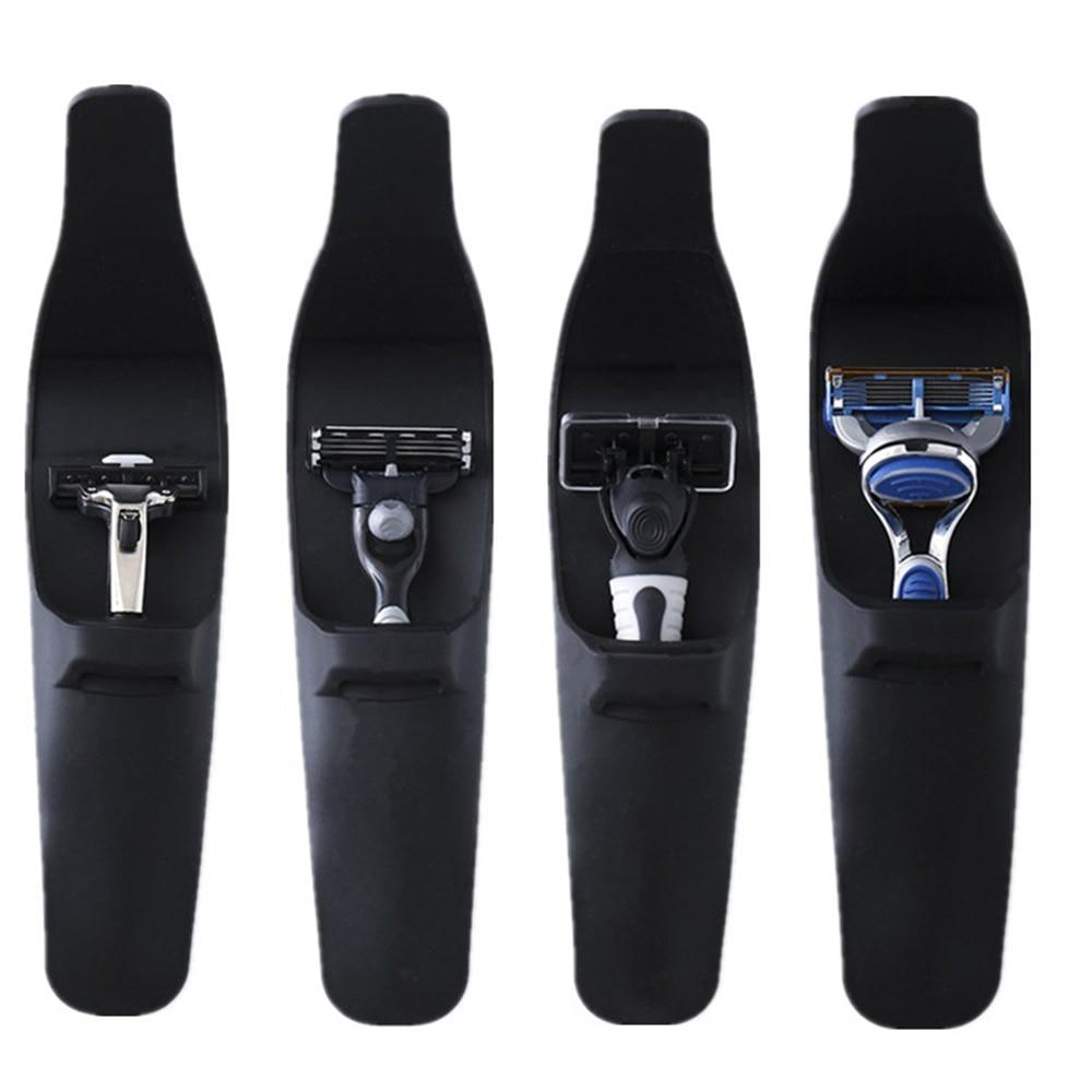 1pc Portable Silicone Black Men's Manual Series Razor Handle Silicone Sleeve Suitable For Suitcase Razor Protector Case