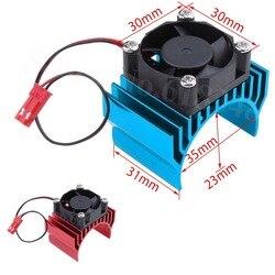 Aluminiowy radiator z wentylatorem chłodzącym DC 5V silnik elektryczny radiator do 1/10 skala RC Car 540 550 3650 rozmiar silnika w Części i akcesoria od Zabawki i hobby na