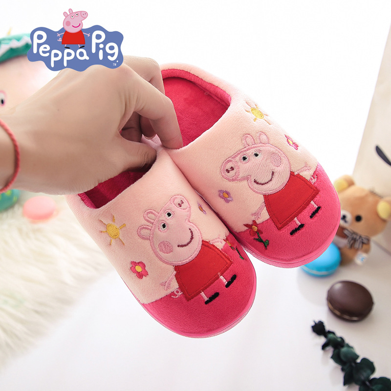 New Peppa Pig George Cotton Winter Plush Children's Shoes Baby Slippers Indoor/Outdoor Warm Soft Kids Peppa Pig Slippers Toys