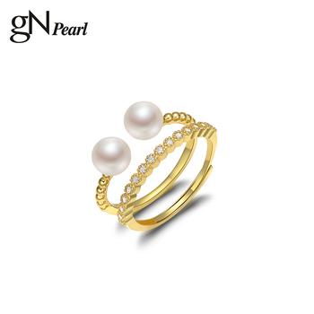 GN pierścionek z perłą 5-6mm prawdziwe białe naturalne morskie pierścionek z perłą regulowany pierścionek dla kobiet dziewczynki prezent para pierścionek tanie i dobre opinie gNpearl SILVER 925 sterling CN (pochodzenie) Kobiety Perła Idealnie okrągłe perły słodkowodne Drobne Pierścionki