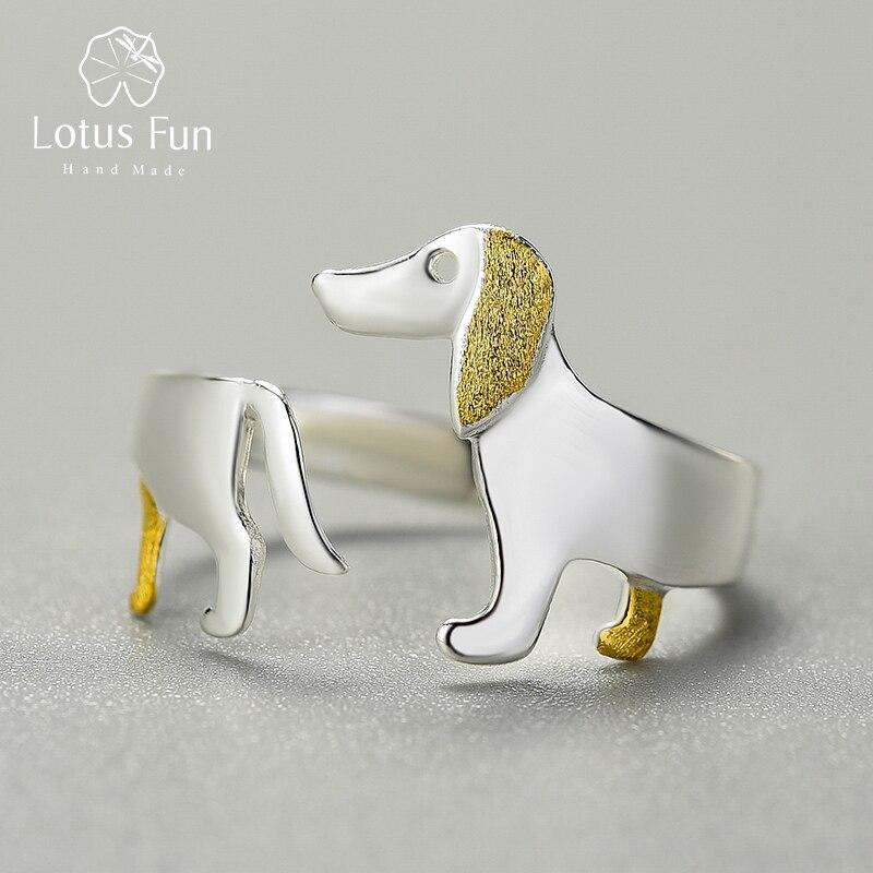 Ein Dackel für Hundeliebhaber! Offener, teilvergoldeter Silberring   925 Ringe 925 Silber Fingerringe Gravur