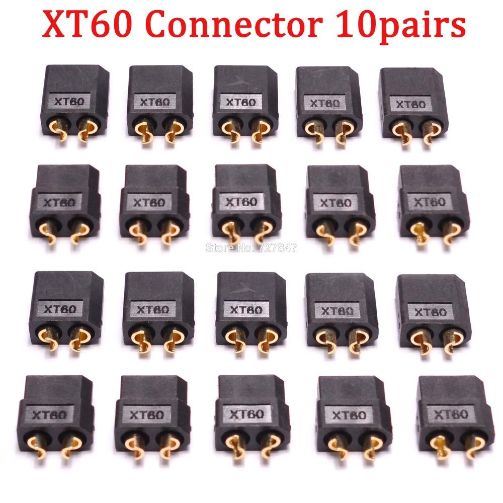 20 шт.(10 пар) Высокое качество XT30 XT30U XT60 XT60H XT60L XT60PW XT90 XT90S разъем для батареи мультикоптера - Цвет: Black XT60 Plug