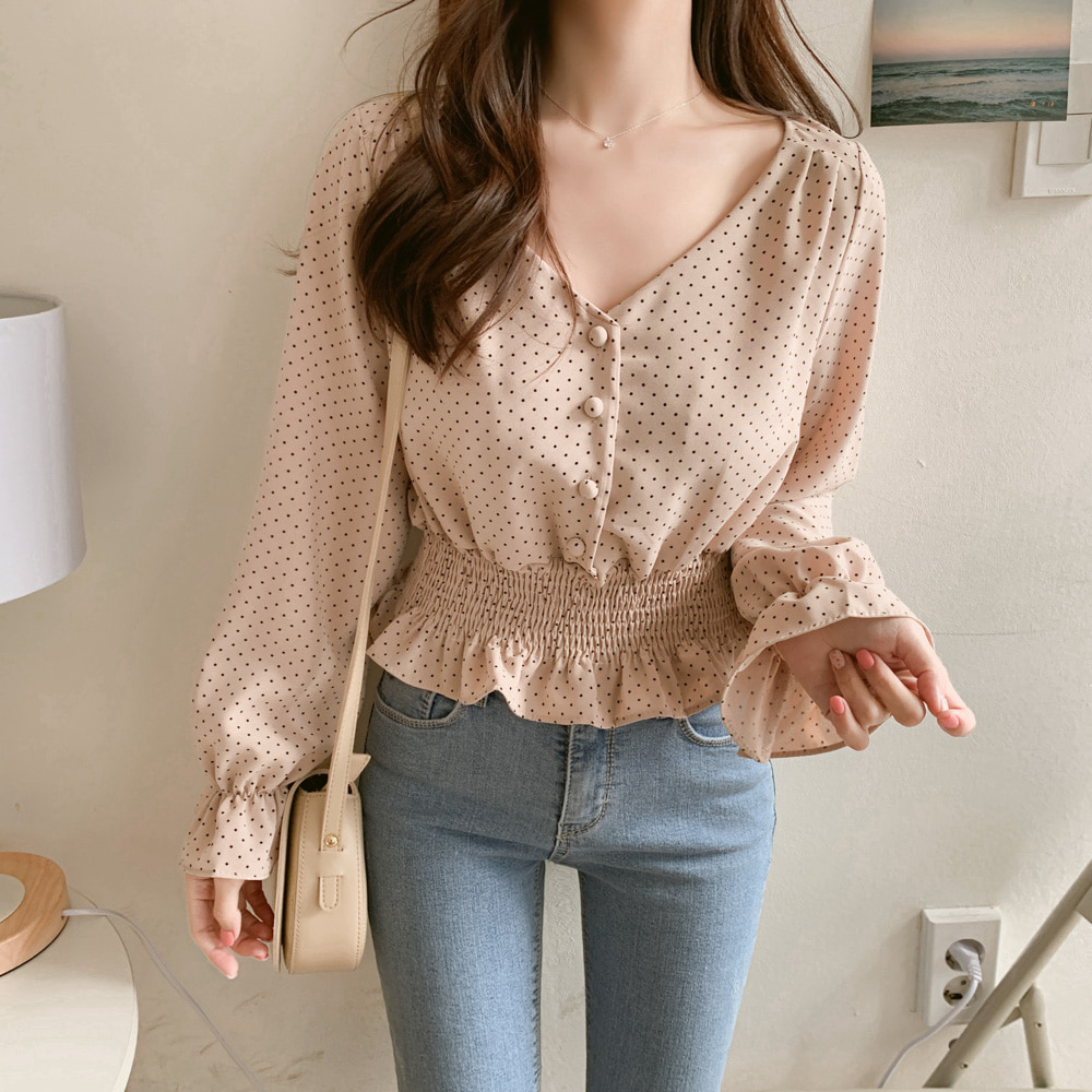 H0a12c795148449fd81556435b08888b4N - Vintage V-neck Flare Sleeve Polka Dot Women Blouse Shirts Elegant Front Buttons Slim Waist Ruffles Female Blouse blusas 6602 50