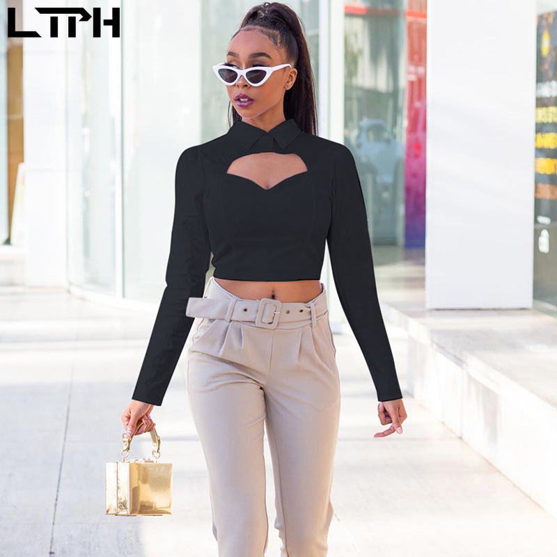 Hot sale 2019 Autumn New women blouses Solid Full sleeve shirt lapel temperament Slim sexy hollow stitching Casual wild tops