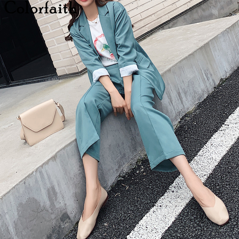 Colorfaith 2020 New Spring Woman Sets 2 Piece Matching Wide Leg Pants Casual Buttons High Elastic Waist Office Lady Suit WS1263