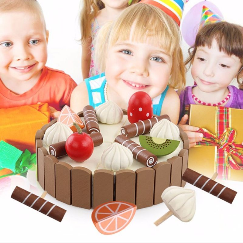 Children Birthday Cake Magnet Wooden Toys Kitchen Pretend Play Fruit Toy Early Cooking Cutter Set Educational Gift Y4UD