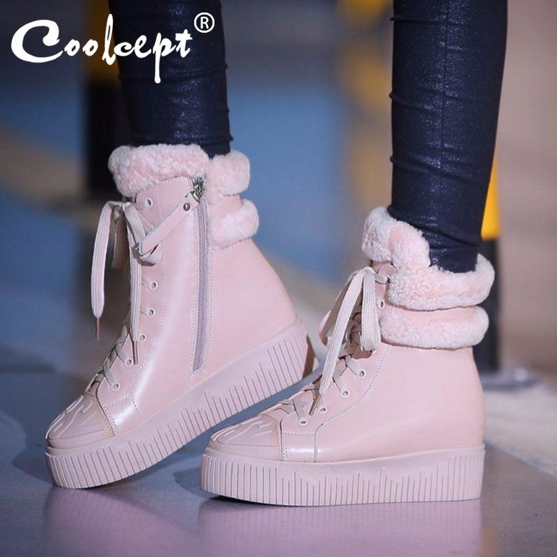 겨울 정품 가죽 여성 발목 부츠 따뜻한 두꺼운 양 모피 스노우 레이디 플랫폼 부츠 패션 레이스 여성 신발 크기 34 39-에서앵클 부츠부터 신발 의  그룹 1