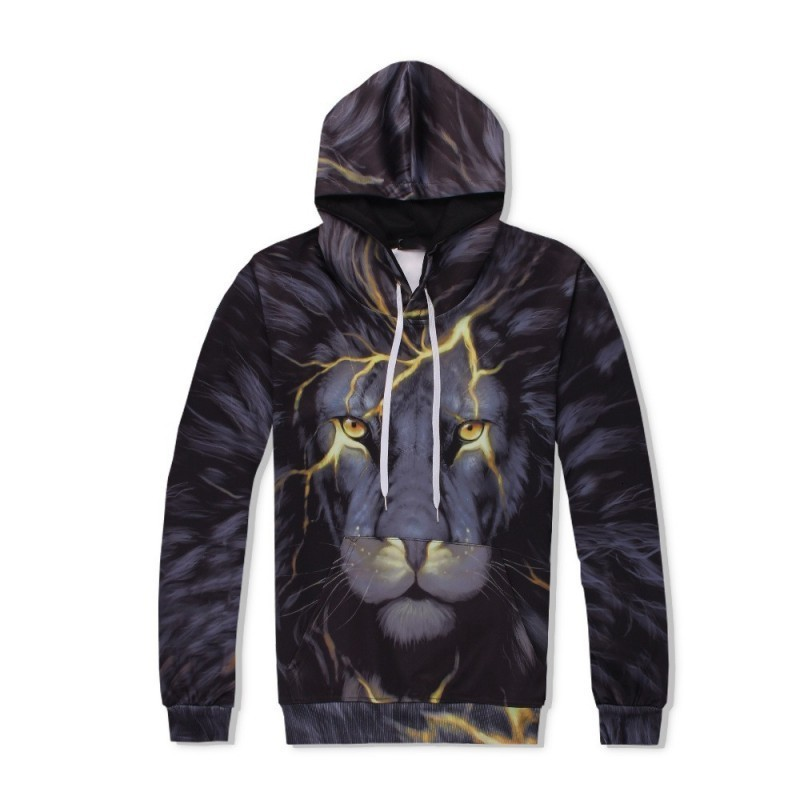 Harajuku Streetwear Lion Printed 2pcs Set Casual Outside Jogging Tracksuit Hip Hop Hoodie Sweatshirt Conjunto Deportivo Hombre