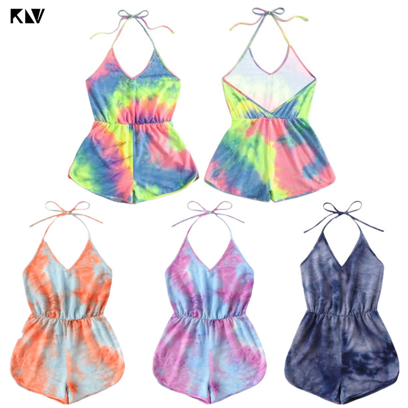 KLV Women Sexy Halter V-Neck Backless Playsuit Rainbow Gradient Tie-Dye Printed Summer Sleeveless One Piece Jumpsuit Beachwear