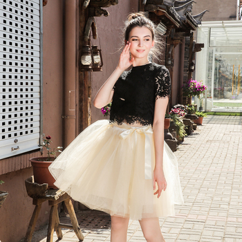 Skirts Womens 7 Layers Midi Tulle Skirt Fashion Tutu Skirts Women Ball Gown Party Petticoat 2019 Lolita Faldas Saia 1