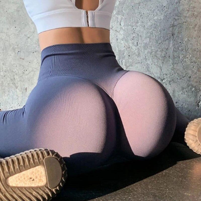 Бесшовные леггинсы с эффектом пуш-ап, спортивные женские леггинсы для фитнеса, бега, штаны для йоги с высокой талией, энергетические эластич...