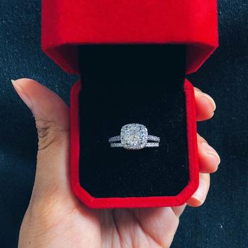 Zestaw pierścieni zaręczynowych dla kobiet wszystkie rozmiary różowe złoto kolor AAA + Cubic cyrkon klasyczna biżuteria SR531-M tanie i dobre opinie StoneAge Miedzi Kobiety Cyrkonia Klasyczny Zestawy dla nowożeńców GEOMETRIC Wszystko kompatybilny SR531 SR559 SR560 SR839