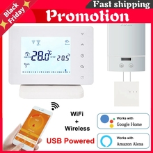 Wireless Wifi Smart Thermostat For Gas Boiler Temperature Controller Usb Powered Works With Google Home Alexa