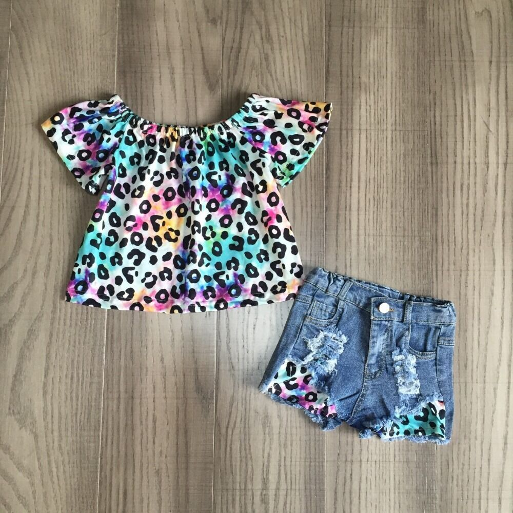Baby Girls Summer Jeans Outfits Girl Leopard Tie Dye Shirts Girls Boutique Denim Outfits