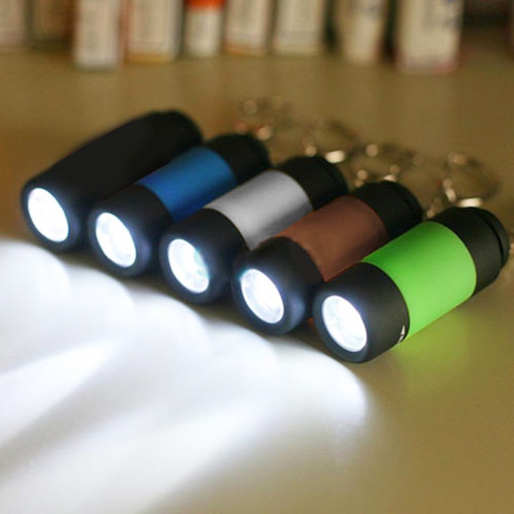 1pcs Portable Mini Keychain Pocket Torch USB Rechargeable Light Flashlight Lamp 0.5W 25Lm Multicolor Mini-Torch 2018 Newest
