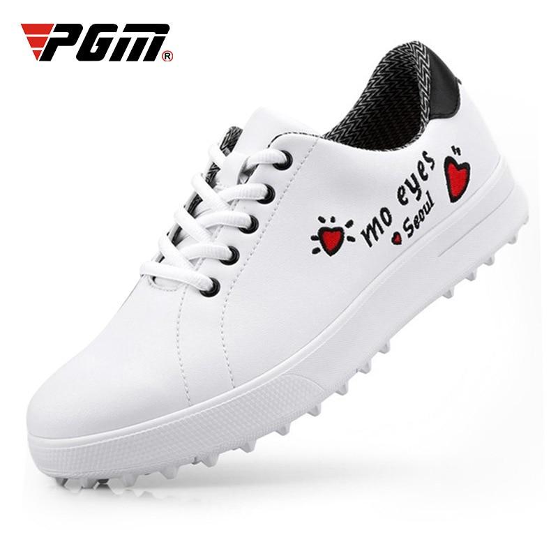 Sapatos de Golfe Tênis de Golfe Mulher Pequena Branco Senhoras Spikes Skidproof Feminino Respirável Sola Macia D0754 Pgm