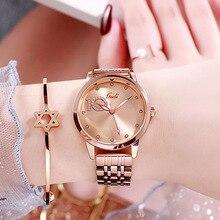 Gran oferta de relojes para mujer, reloj con diamantes de imitación y parpadeo, reloj con diamantes para damas, pulsera de acero inoxidable resistente al agua, relojes de pulsera