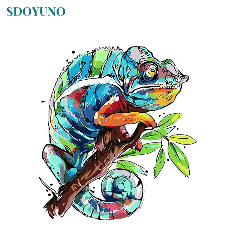SDOYUNO 60X75cm Painting By Numbers DIY Home Decoration Color Chameleon Frameless Pictures By Numbers On Canvas Digital Painting