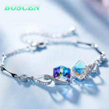 BOSCEN украшенный кристаллами от Swarovski разноцветный браслет для женщин девушка подарок на день рождения милый роскошный квадратный элегантный
