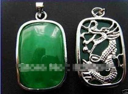 +++ 818 หายากสีเขียว Silver Dragon Amulet จี้สร้อยคอ