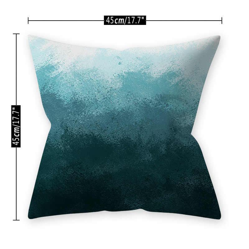 Mavi Polyester tropikal yastık çizgili dekoratif yastık kılıfı atmak yastıklar kanepe minder kılıfı dekorasyon 45*45cm