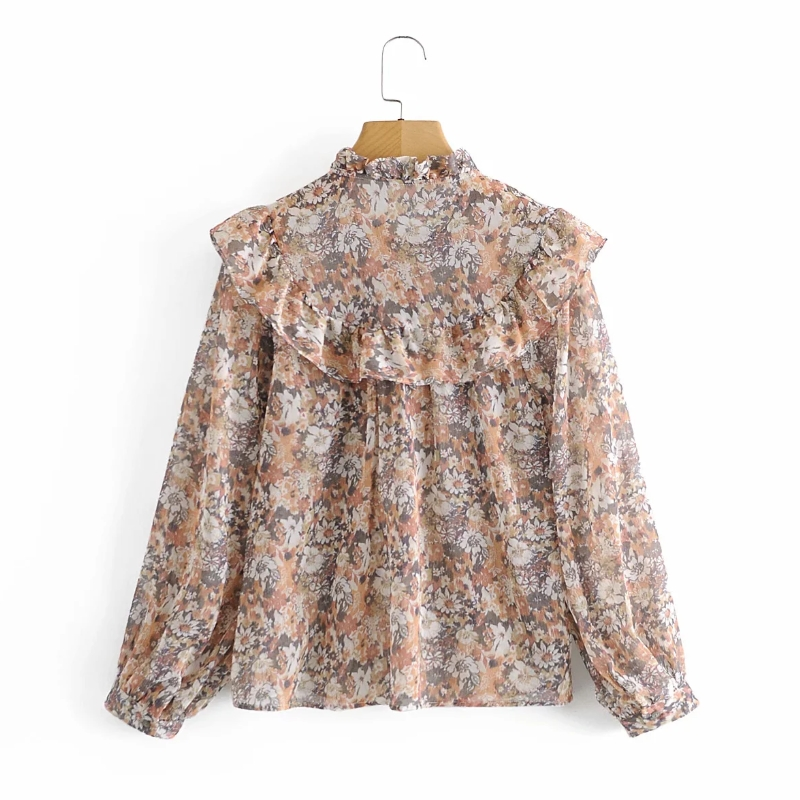 Women Cascading Ruffle Floral Printing Chiffon Shirts Vintage Female Long Sleeve Blouses Casual Lady Loose Tops Blusas S8295 2
