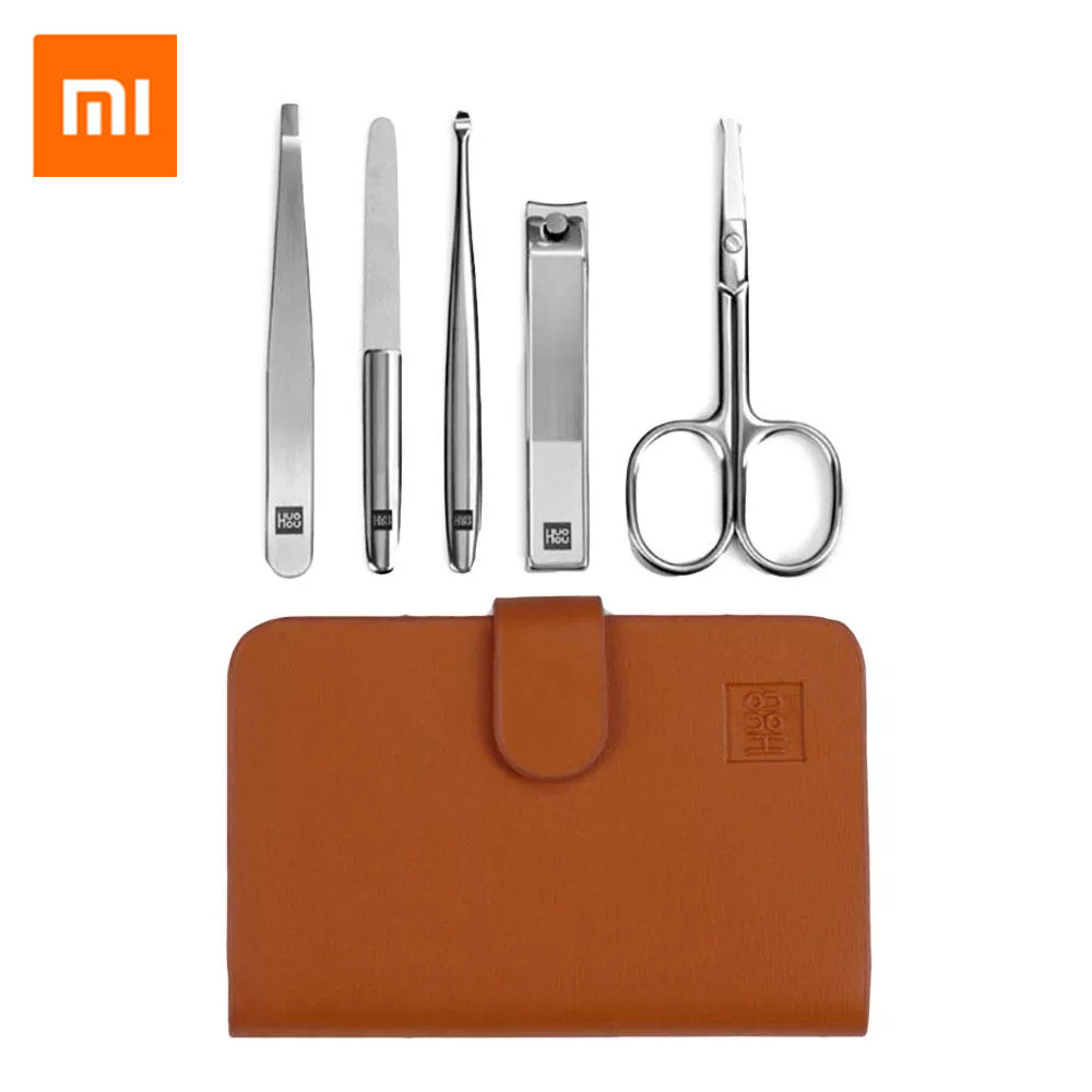 Xiaomi Mijia HUOHOU 5PCS/Set Stainless Steel Nail Clipper Beauty Scissors Tweezer Curette Stainless Steel Nail Clippers Set
