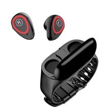 M1 tws sem fio bluetooth 5.0 fone de ouvido relógio inteligente saúde rastreador pedômetro pulseira de fitness inteligente para o esporte