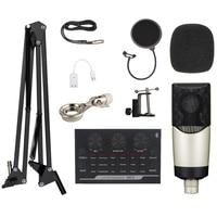 bm 800 Professional Condenser Microphone Kit Top Quality BM 800 Mic+V8 Sound Card Set For Computer PC Recording Karaoke Tik Tok