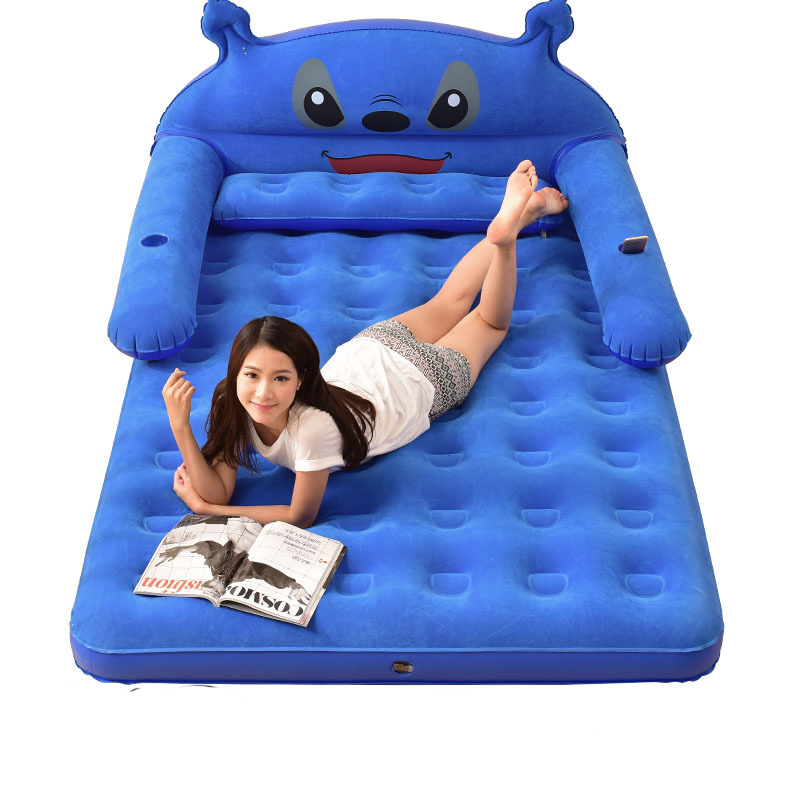 Kids Cartoon Inflatable Bed 2 Person Indoor Thickened Air Cushion Folding Bed Lazy Sofa Simple Outdoor Camping Mattress Mat