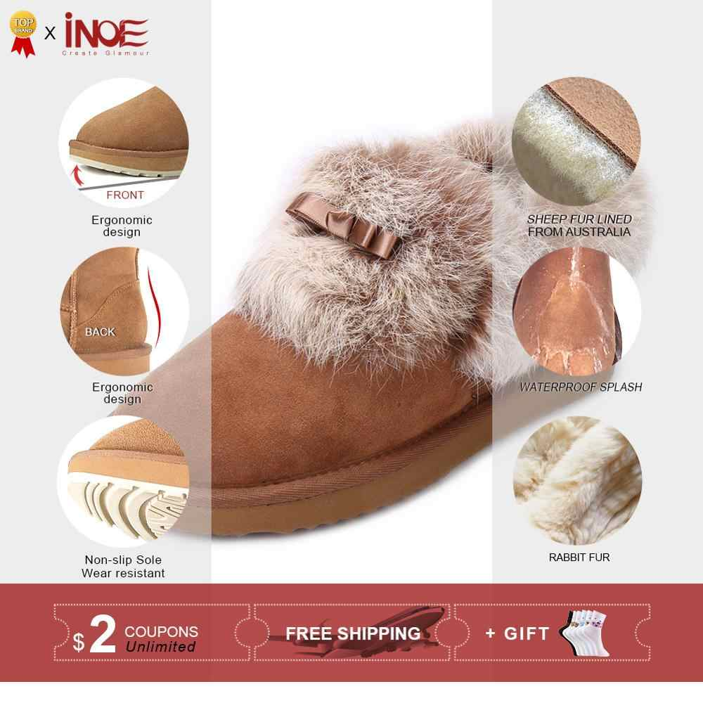INOE moda gerçek koyun derisi süet deri kürk astarlı kısa ayak bileği kadın kış kar botları tavşan kürk yay düğüm ile kış ayakkabı