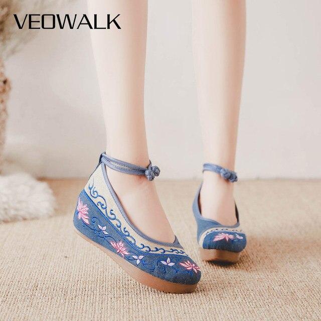Veowalk escarpins compensés pour femmes, style printemps chinois, style à talons hauts, style de pékin, broderie de fleurs, collection chaussures décontractées en tissu