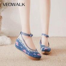 Veowalk 중국어 봄 패션 여성 하이힐 올드 북경 천 캐주얼 신발 여성 꽃 수 놓은 웨지 플랫폼 펌프