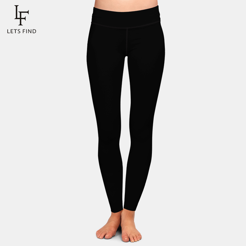 LETSFIND New Arrival Women Plus Size Leggings Solid Black High Waist Comfortable Breathe Freely Fitness Stretch Leggings