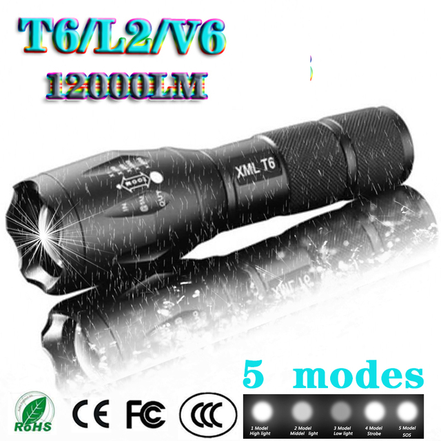 Z45 Led Flashlight Ultra Bright Waterproof MINI Torch T6/L2/V6 zoomable 5 Modes 18650 rechargeable Battery for camping tactical 3