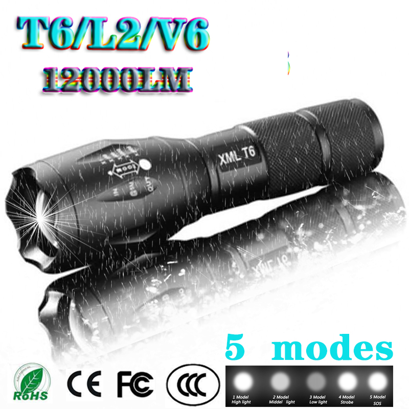 Z45 Led Flashlight Ultra Bright Waterproof Torch T6/L2/V6 zoomable 5 switch Modes 18650 chargeable Battery for outdoor camping