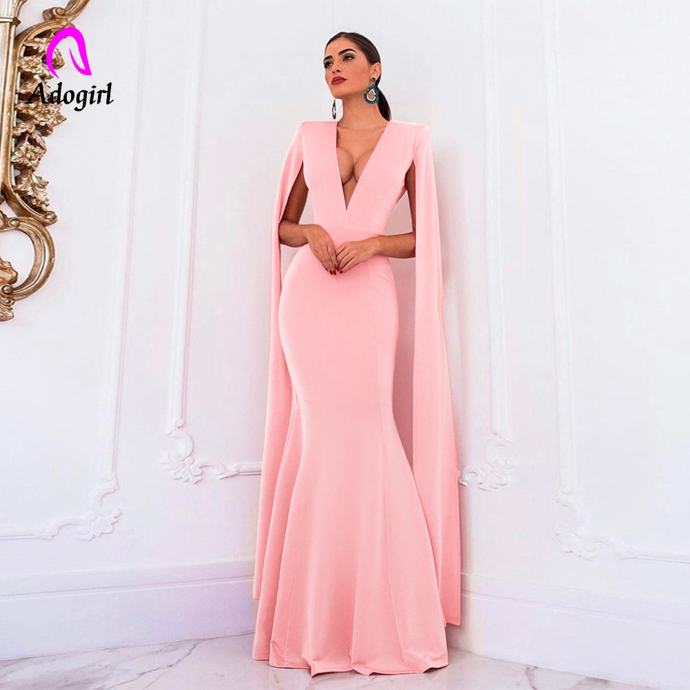Adogirl Pink Long Dress Women Banquet Evening Party Mermaid Dress Backless Elegant Empire Bodycon Formal Sheer Maxi Dress Outfit