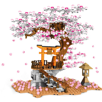 shrine Sembo City Street Series Cherry Blossom Shrine Bricks Sakura Spiral Stairs Tree House With Light Model Building Blocks Kids Toys