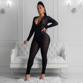 HAOYUAN Sexy Black Leopard Mesh Sheer Bodycon Jumpsuit Women Fashion Festival Clothes One Piece Club Body Long Sleeve Rompers 2
