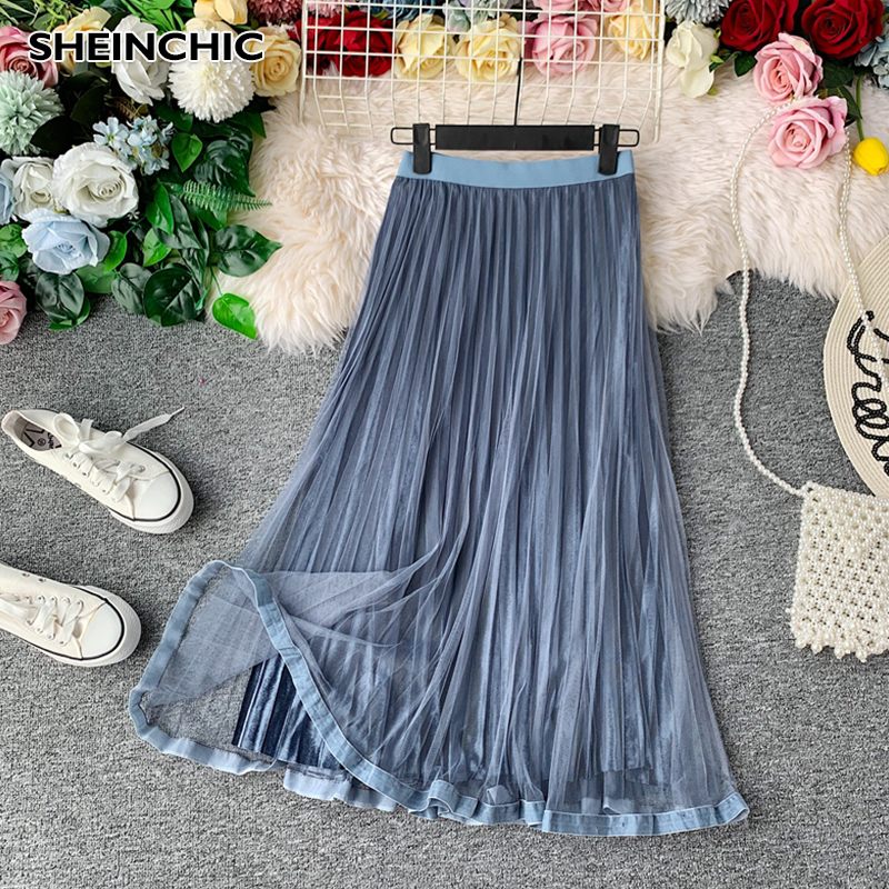 Vintage High Waist Mesh Gold Velvet Two Layer Midi Skirt 2020 Spring And Autumn New Slim Pleated Skirt For Female Saia Faldas