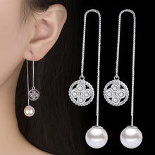 Korean style fashion concise exaggeration geometric circular tassels in the long earline womens circle pearl earrings