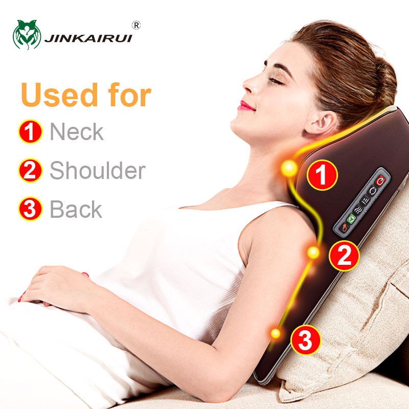 Jinkairui Neck Massager Car Home Cervical Shiatsu Massage Neck Back Waist Body Electric Multifunctional Massage Pillow Cushion