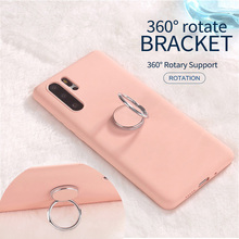Liquid Silicone Phone Case for SamSung A70 A50 S10 Plus S8 S9 Magetic Metal Ring Holder Cover Samsung Note10 Coque