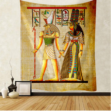 Yellow ancient Egyptian tapestry wall hanging Hippie Egyptian tapestry wall cloth printing old culture home decoration retro tap