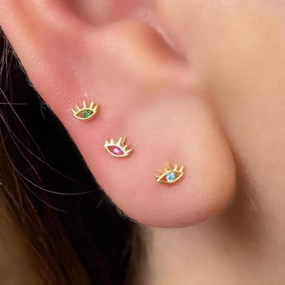 Minimal 925 sterling silver jewelry blue CZ paved tiny cute lovely evil eye stud earring multi piercing silver studs